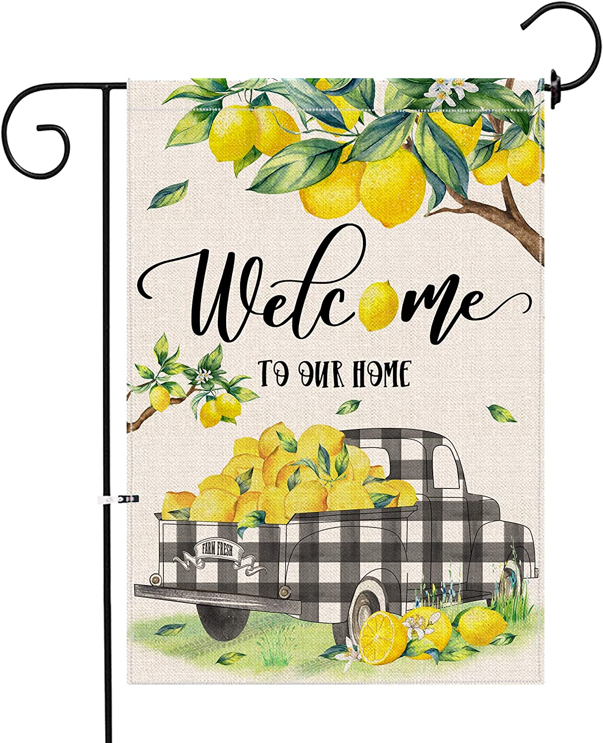 KamaLove Lemon Truck Summer Garden Flag Vertical Double Sided, Welcome Small Burlap Yard Flag 12×18,Spring Summer Rustic Outdoor Lawn Decoration for Home
