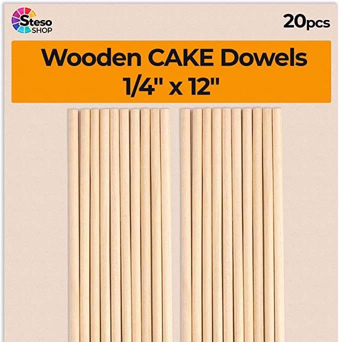 """9/"""" Long CAKE DOWELLING Rods Support Tiered Cakes Sugarcraft DOWELS 10 x DOWELS"""