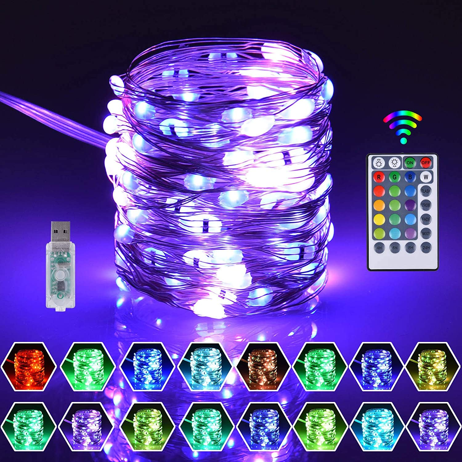 Pixfairy 16 Color Changing Fairy String Lights, LED String Lights with USB Remote Control, Rainbow Backdrop, 4 Lighting Modes Perfect for Christmas, Weddings, Party, Garden Decor