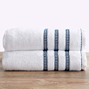 100% Cotton Plush Bath Towel Set (30 x 52 inches) Absorbent Floral Jacquard Luxury Towels. Roselyn Collection (Set of 2, White / Blue)