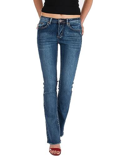 Fraternel pantalon jeans femme bootcut effiloché Bleu M / 38 -W28