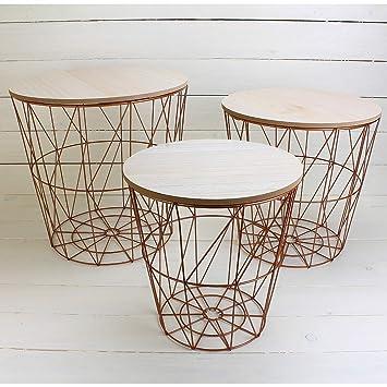 MACOSA NO771 3er Set Metalltische Kupfer Mit MDF Holzplatten Deckel/ Wohnzimmertisch / Beistelltisch/Deko