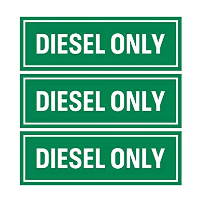 Diesel Only Sticker Sign (Pack of 3) | Adhesive Fuel Decal for Trucks, Tractors, Machinery and Equipment: Automotive