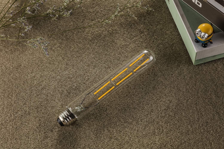 3-Pack HXMLS T10 Tubular Led Bulb 6W,Dimmable T30 Long Tube Edison Style Filament Light Bulb,60 Incandescent Watt Equivalent,2700K Warm White,Clear Glass Cover E26 Medium Base,