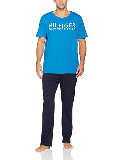 277bdb29 Tommy Hilfiger Men's Ss Pyjama Set, Multicoloured (Daphne/Navy Blazer 904),
