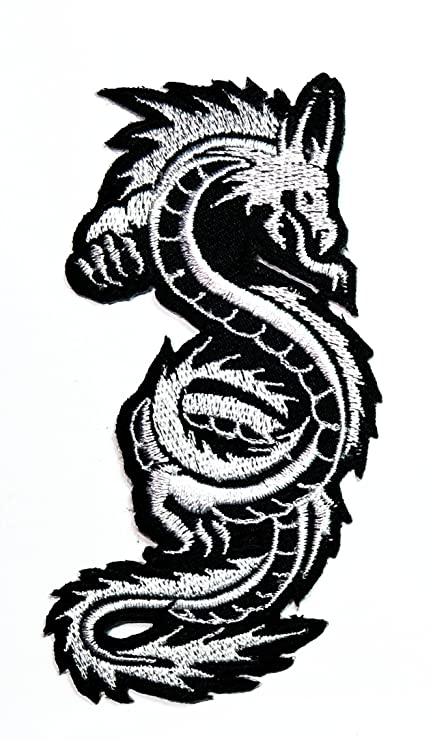 Amazon White Chinese Japanese Dragon Patch Embroidered Iron On