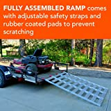 """CargoSmart Aluminum Tri-Fold Ramp with Treads (1pk) - Easily and Safely Load and Unload Push Mowers, Garden Tillers, ATVs and More, 1,500 lb. Total Ramp Capacity, 50"""" W x 76"""" L"""