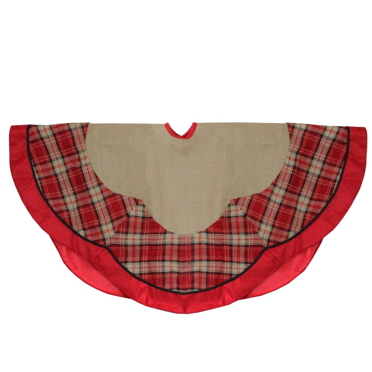 Northlight Countryside Burlap and Red Plaid Christmas Tree Skirt with Scalloped Border, 48''