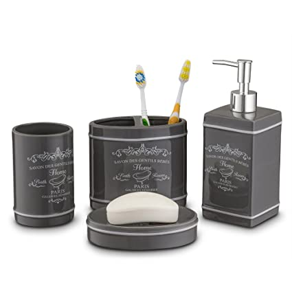 Amazoncom Home Basics Paris Collection Piece Bathroom - Slate bathroom accessories