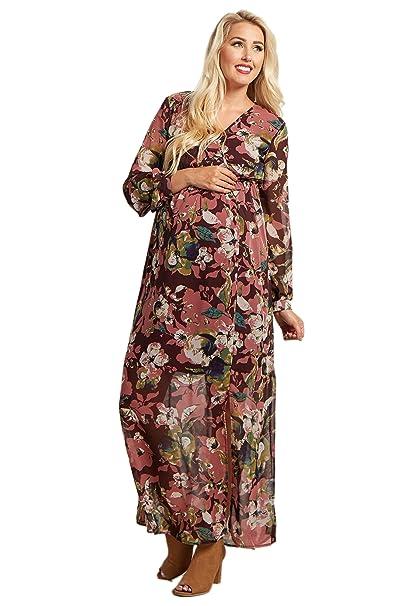 0216726bfdfe PinkBlush Maternity Burgundy Floral Print Chiffon Maternity Maxi Dress,  Small