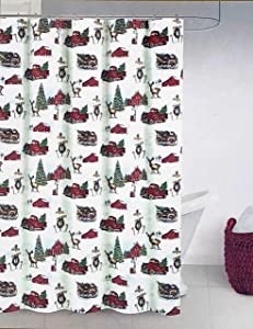 Ridgefield Home Shower Curtain Holiday Christmas Pattern Vintage Style Barns Wagons Farm Trucks with Christmas Wreaths Trees on White
