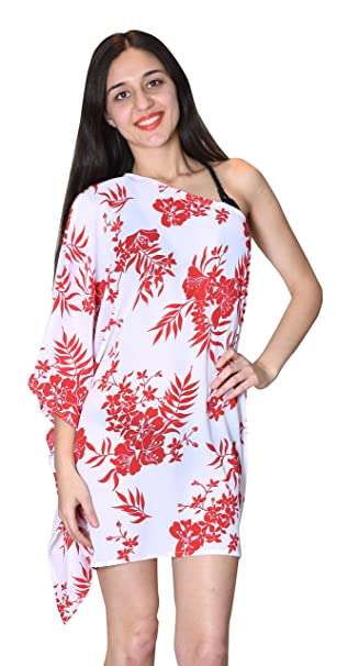 fcc20b63ec SUNROSE White Red Floral Print Partywear One Shoulder Kaftan Caftan Beach  Cover up: Amazon.co.uk: Clothing