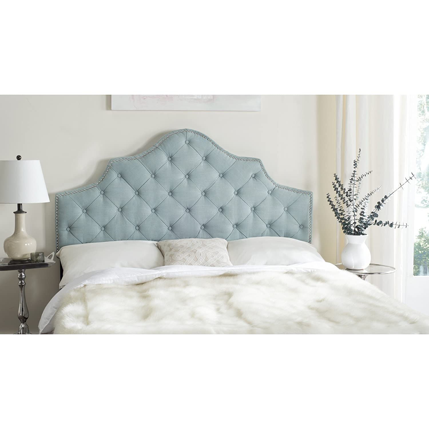 Amazon.com   Safavieh Arebelle Sky Blue Upholstered Tufted Headboard    Silver Nailhead (Full)
