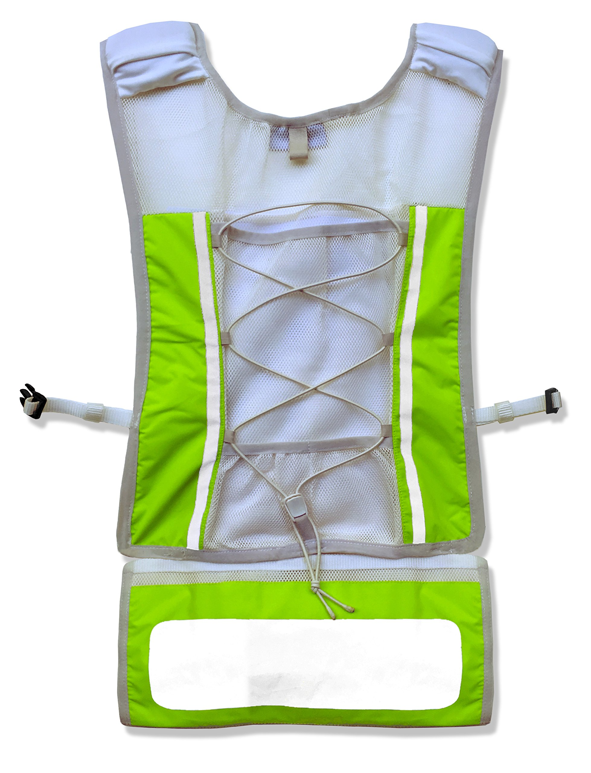 Roadnoise Long Haul Vest Running and Cycling Vest with speakers. Safer running and riding with music. (Hi Vis Green, X-Small/Small) by Roadnoise (Image #5)