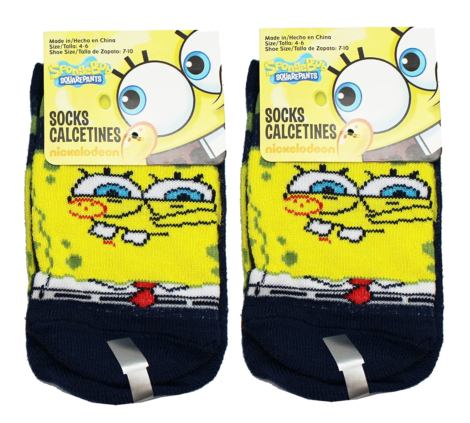 Amazon.com: Spongebob Squarepants Navy Blue Excited Smile Kids Socks (Size 4-6, 2 Pairs): Clothing