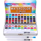 Dyvicl Watercolor Paint Set, 72 Assorted Watercolors in Tin Box with Water Brushes Sketch Set Protable Watercolor Travel Set