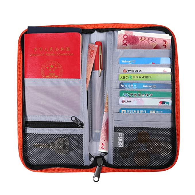 Bloqueo RFID cartera de viaje y organizador de Passport holder-travel para pasaporte/tarjeta