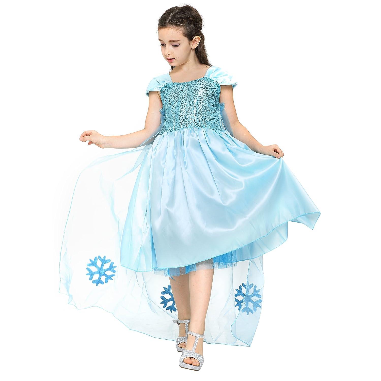Katara - Vestido de princesa, disfraz de Cenicienta o Elsa, traje elegante de gala para niñas de 7-8 años, color azul (1166): Amazon.es: Juguetes y juegos