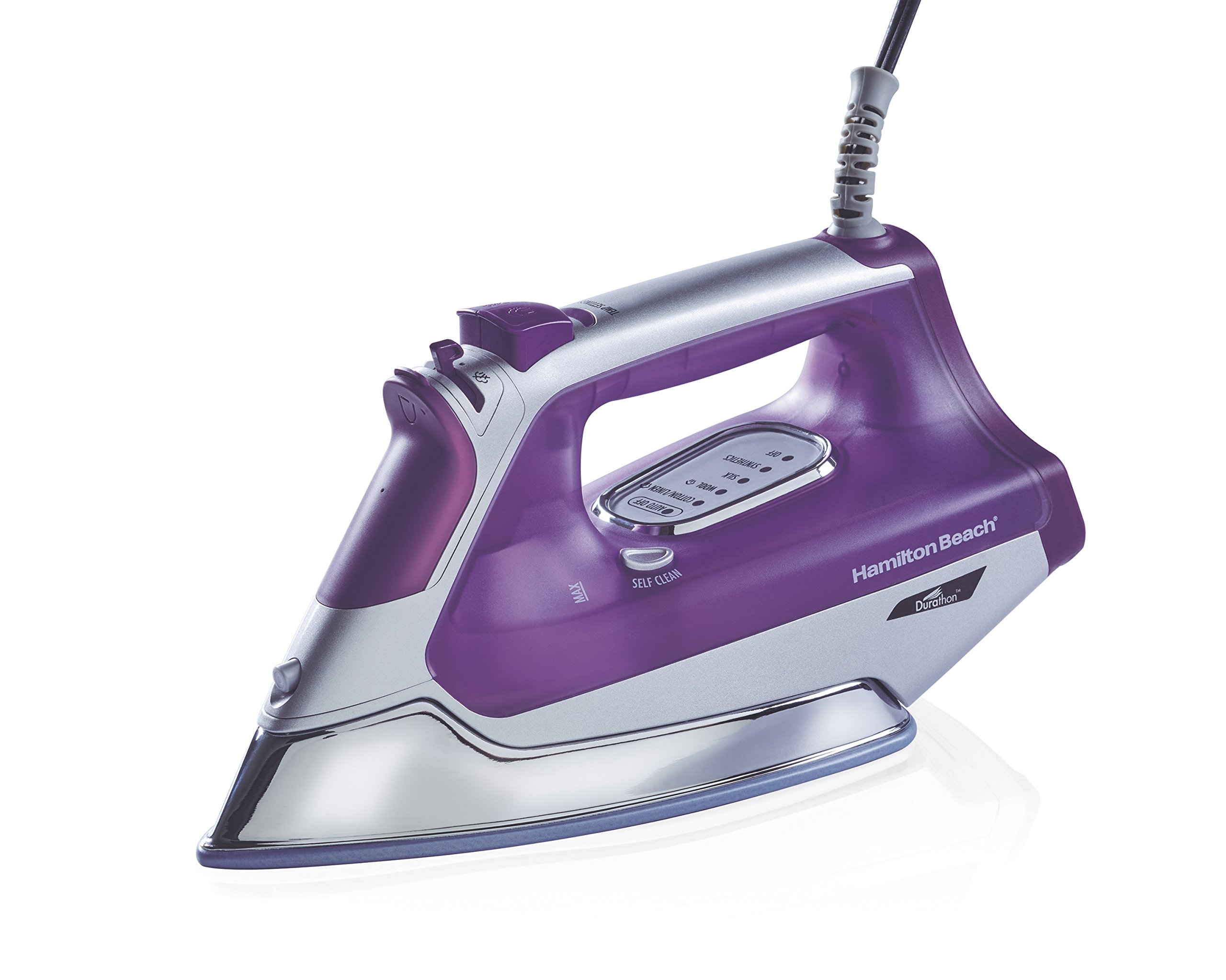 Hamilton Beach Durathon Steam Iron, 3-Way Auto Shutoff, Purple