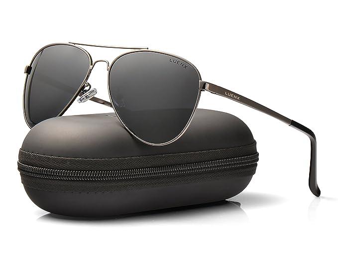 LUENX Hombre Gafas de sol Aviador polarizado con estuche - UV 400 No Espejo de protección: Amazon.es: Ropa y accesorios