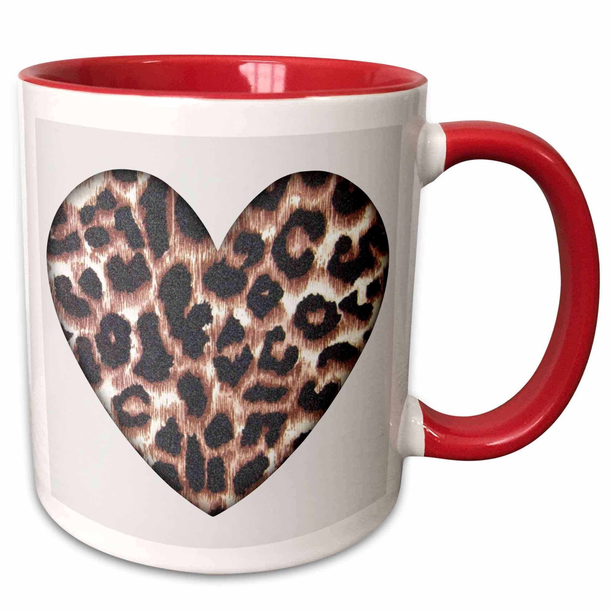 3dRose mug_30870_5 Heart Leopard Animal Prints Fashion Ceramic, 11 oz, Red/White