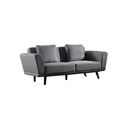 Delicieux Modern And Sleek Living Room Linen Fabric Sofa Couch (Light Grey)