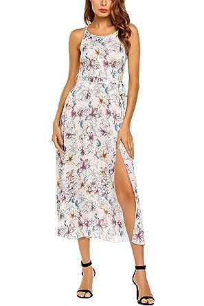 261469b84df1 Zeagoo Women s Boho Spaghetti Straps Split Floral Print Flower Party Maxi  Dress White S