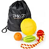 Puppy Chew Toys - Durable for Teething, Chewing - Made of Natural Rubber and No Stuffing - Squeaky Ball, Frisbee, Rope Tug take Boredom away – New Gift Basket – Best for Small to Medium Dogs
