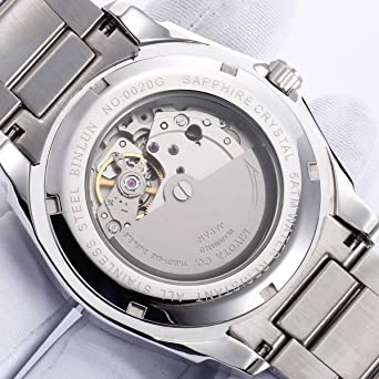 Amazon.com: BINLUN Automatic Watches for Men Outdoor Silver Stainless Steel Waterproof Mechanical Watch with Day Date: Watches