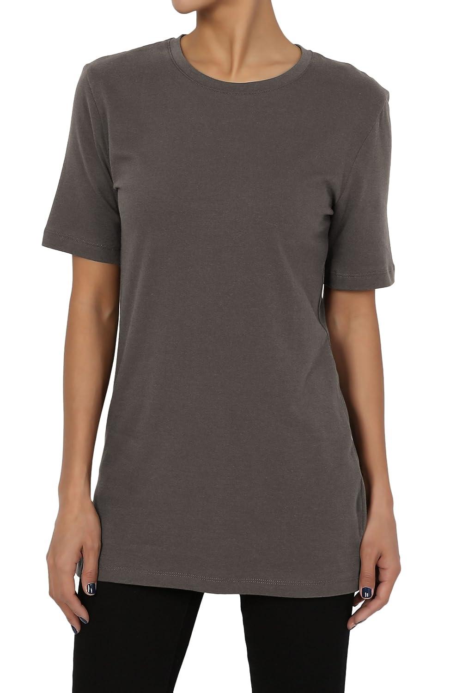 TheMogan S~3X Basic Cotton Span Crew Neck Relaxed Boyfriend T-Shirts Loose Tee