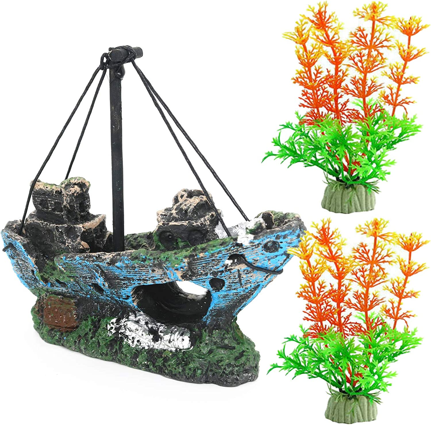 Magicwolf Aquarium Shipwreck Decorations Set Resin Sunken Ship Fish Tank Ornaments for Aquarium Environments Decor Accessories, Shipwreck x 1, Aquatic Plant x 2