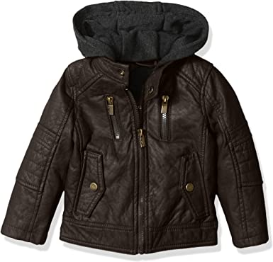 Urban Republic Boys Moto Jacket with Fleece Hoodie