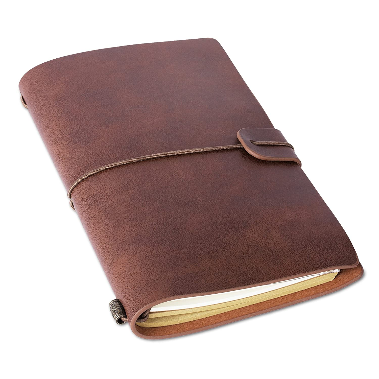 Refillable Leather Traveler's Journal – Insert Booklets and Card Holder – Perfect Field Notebook