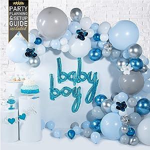 Baby Shower Decorations for Boy - (129 Piece Premium Balloon Garland Kit & Arch Strip) - Blue Balloons with Party Supplies, Decoration and Balloon Arch Kit