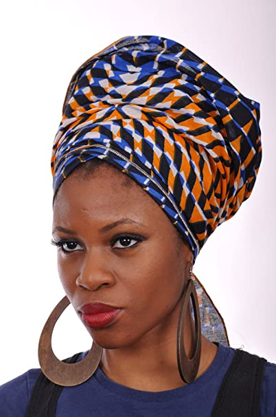 Amazon.com  Multicolor African Print Head wrap One Size  Clothing cbfdc2de0a5