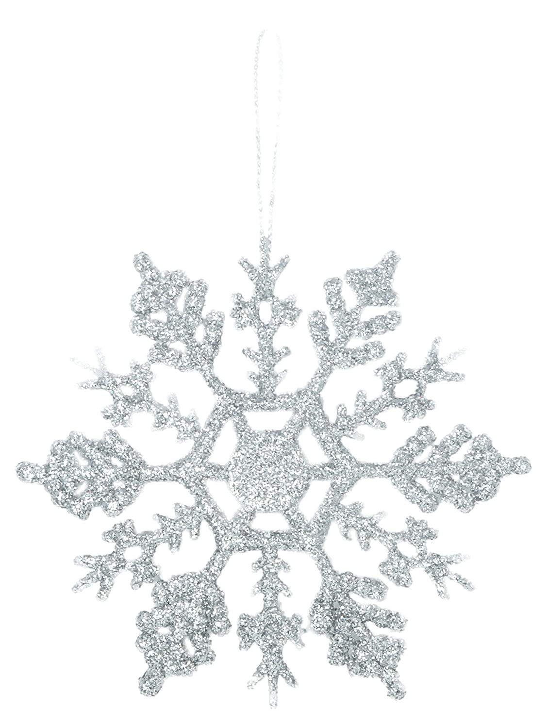 Christmas Concepts® Pack of 12-10cm Silver Glitter Snowflake Hanging Decorations - Christmas Decorations