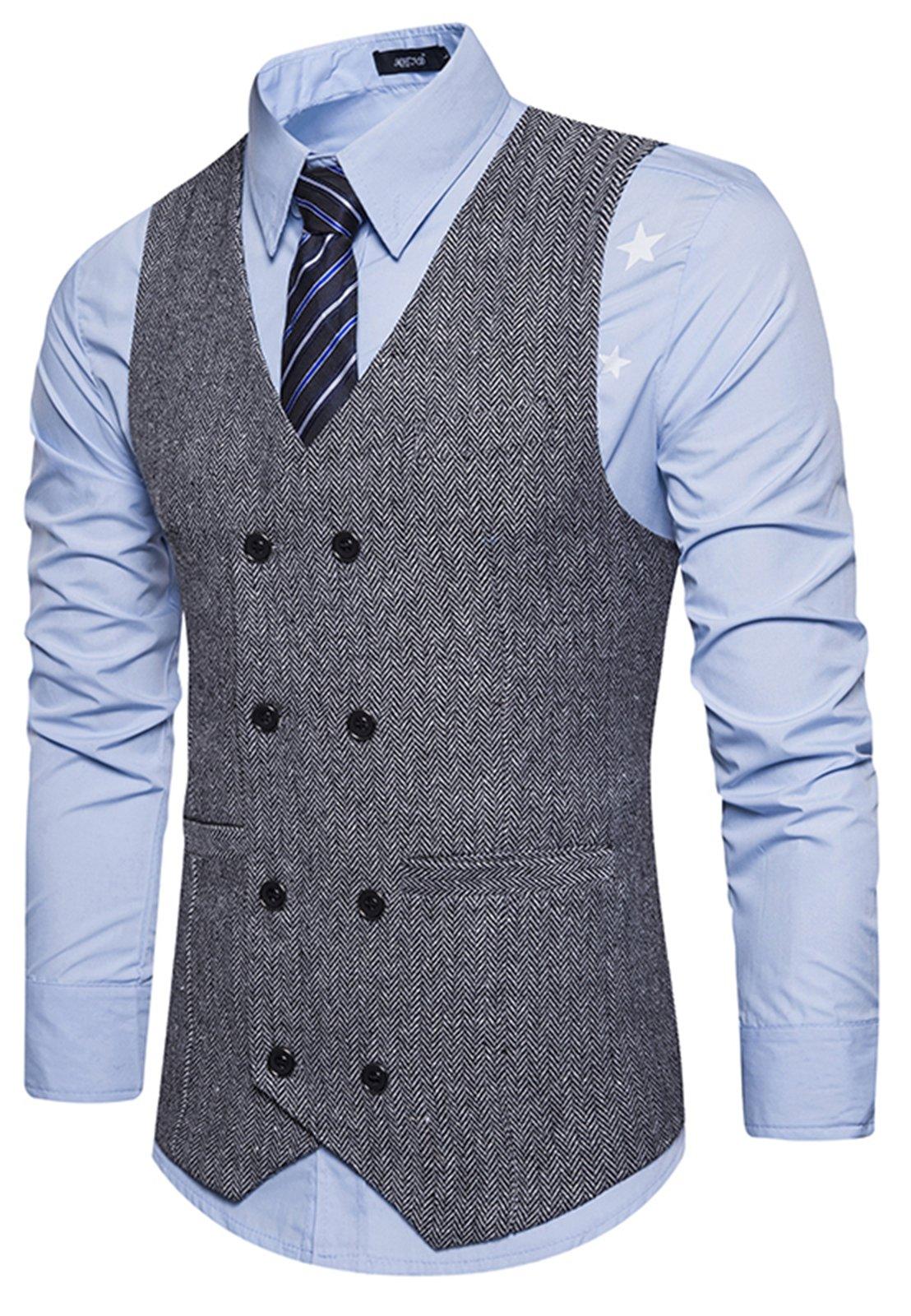 WHATLEES Mens Vintage Slim Fit Double-Breasted Solid Suit Vest B729-Gray-M by WHATLEES