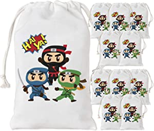 KREATWOW Ninja Party Favors Bags 12 Pack Ninja Treat Candy Gift Bags for Ninja Warrior Birthday Party Decorations Supplies