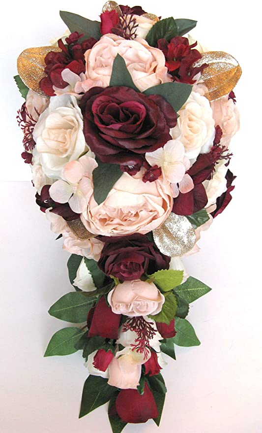 Wedding Flowers 12 x  Wine  Rose Buttonhole/'s with Fern /& Gypsophilia