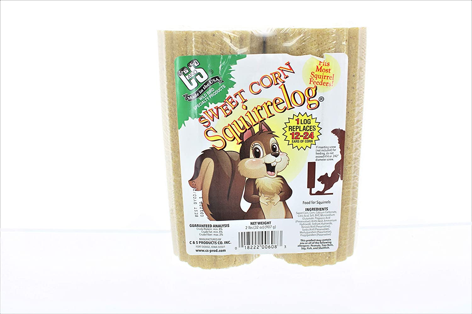 Sweet Corn Squirrelog Replacement Log, 1-pound pack of 2