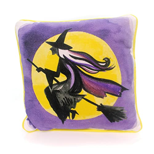 PBK Primitives by Kathy Halloween Flying Witch Full Moon Accent Pillow 11x11 inches Colorful Home Decor