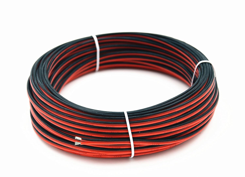 Fil /électrique en silicone 16 AWG 6 m/ètres Ligne de c/âble parall/èle /à 2 conducteurs souple et flexible Connexion 1,3 mm/² Brins sans oxyg/ène Fil de cuivre /étam/é TUOFENG Noir 3 m Rouge 3 m