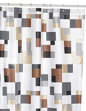 Spirella Pixel Rideau de douche Effet nacré Blanc/marron/beige/gris ...