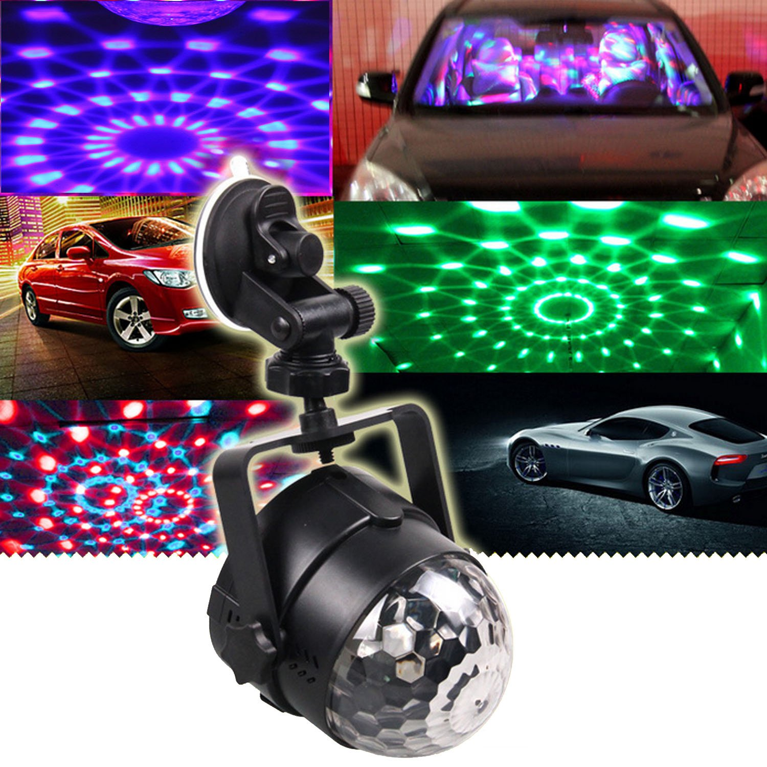 Kangkang@ USB Color Changing Mini 3W RGB Crystal Ball Bulb Car Led Stage for Family Party Birthday Outdoor Dancing Show KTV DJ Disco Light
