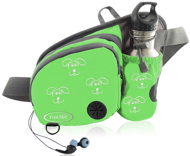Green Free360 Dog Walking Fanny Pack Waist Pouch Women & Men Water Bottle Holder Bag Dispenser Leash Clip