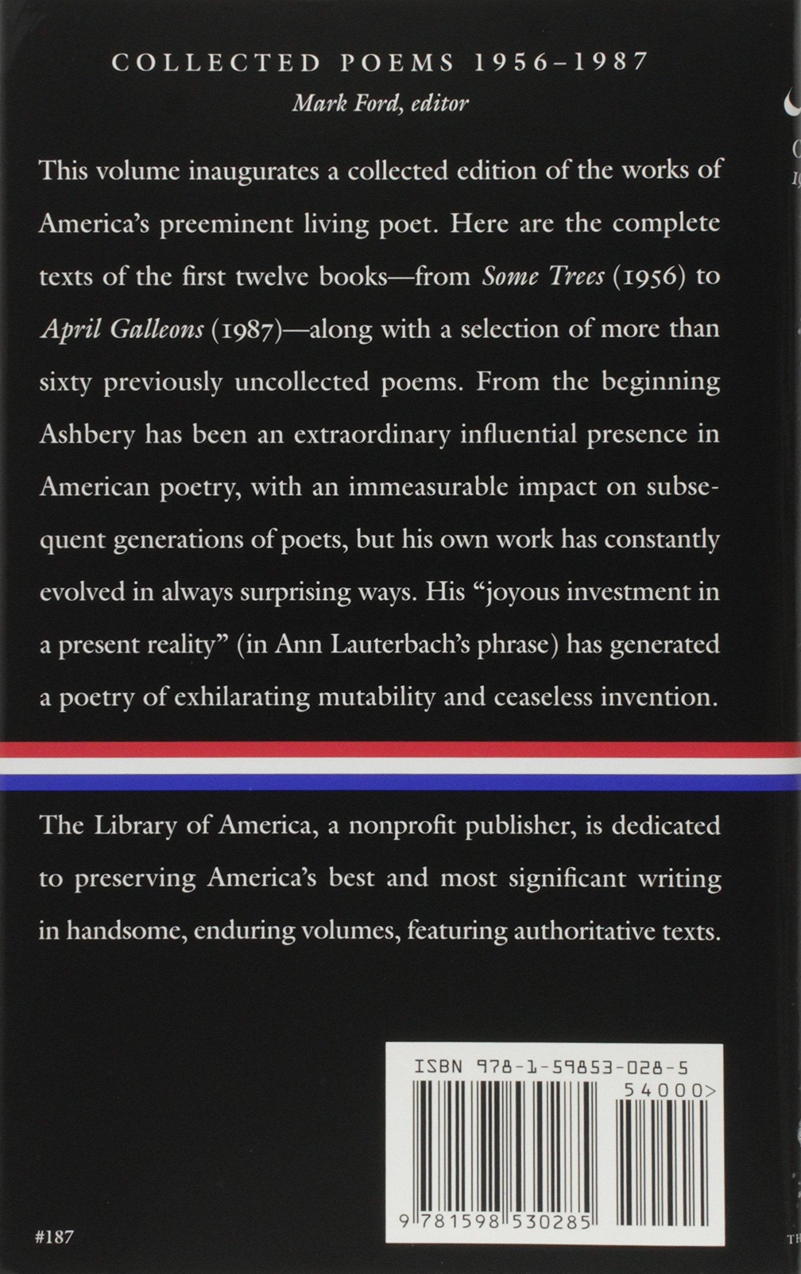 John Ashbery: Collected Poems, 19561987 (library Of America, No 187):  John Ashbery, Mark Ford: 9781598530285: Amazon: Books
