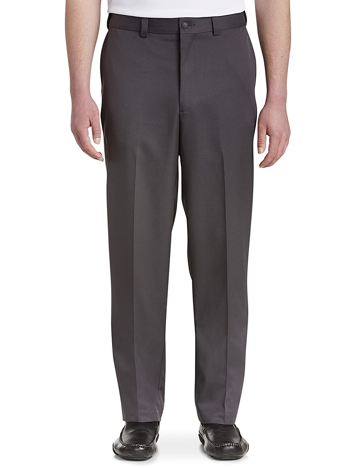 42 X 34 Grey New Improved Fit Oak Hill by DXL Big and Tall Waist-Relaxer Flat-Front Microfiber Pants