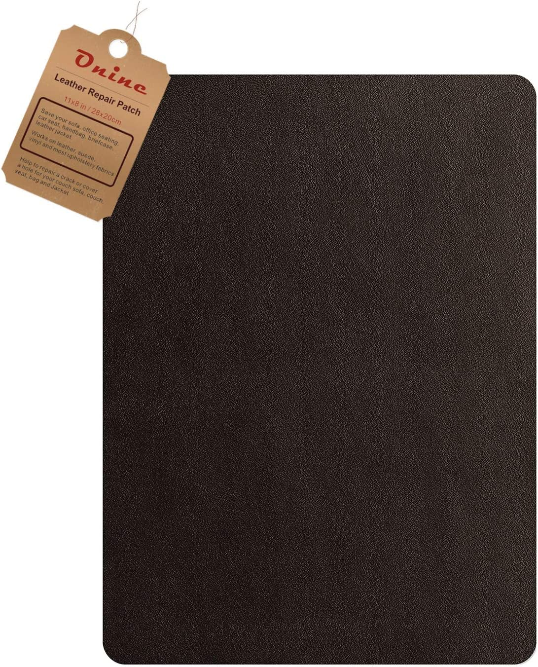 Leather Couch Patch, Genuine Faux Leather Repair Patch, Peel and Stick for Sofas, car Seats, Hand Bags,Furniture, Jackets, Large Size 8-inch x 11-inch (Dark Brown)