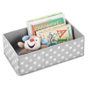 mDesign Soft Fabric Dresser Drawer and Closet Storage Organizer for Child/Kids Room or Nursery - Roomy Open Rectangular Compartment Organizer - Fun Polka Dot Pattern, Light Gray with White Dots