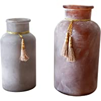 khevga Juego de 2 jarrones decorativos de cristal satinado, 16 y 20 cm de alto